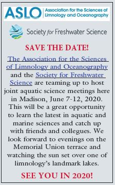 Save the Date! ASLO and SFS join aquatic science meeting here in madison, June 7-12, 2020