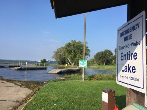"""Lake Monona experienced record-high water levels, making boat launches inaccessible and forcing the DNR to declare the entire lake a """"Slow, No Wake"""" zone from August through October. Photo: Adam Hinterthuer"""